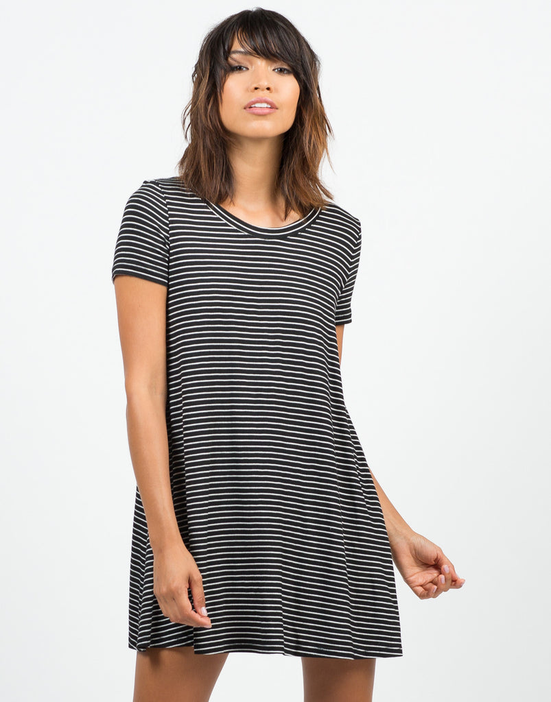 Front View of B&W Striped Dress