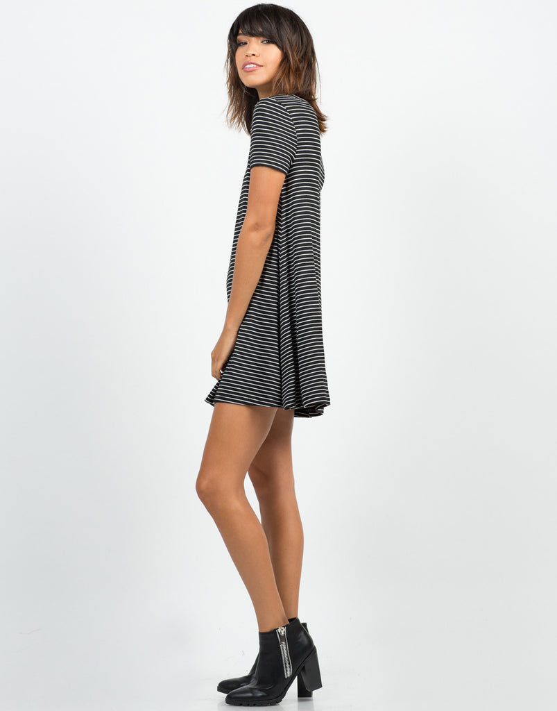 Side View of B&W Striped Dress