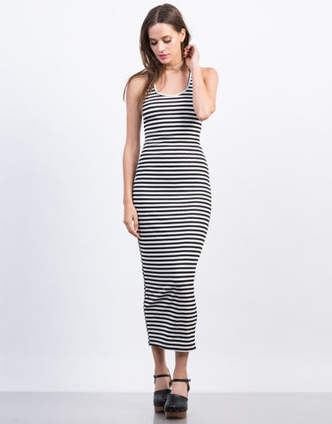 Front View of Caged Back Striped Dress