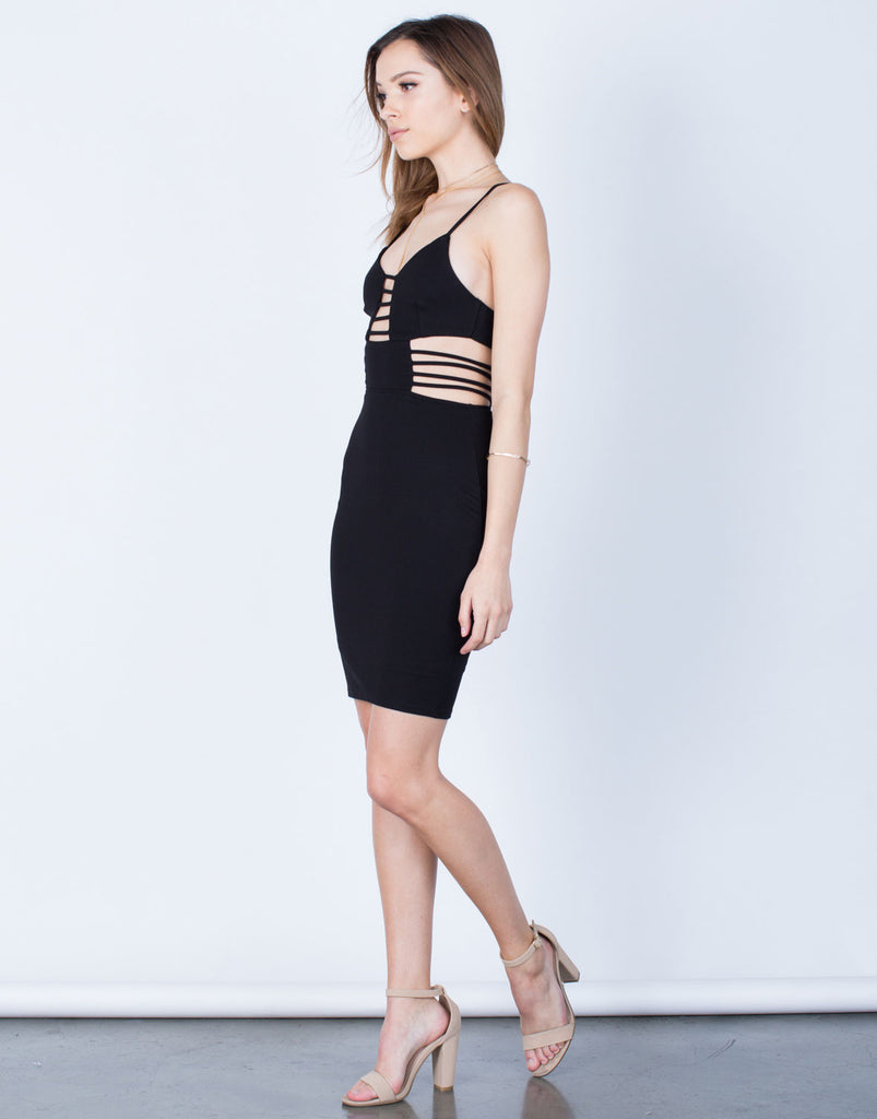 Side View of Caged Cut Out Bodycon Dress