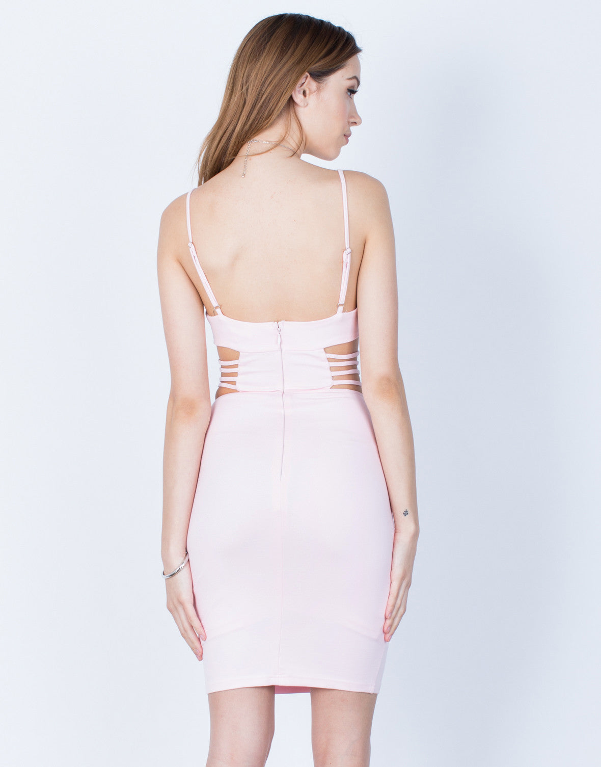 Back View of Caged Cut Out Bodycon Dress