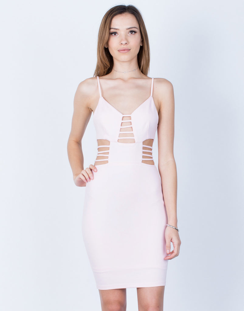 Front View of Caged Cut Out Bodycon Dress