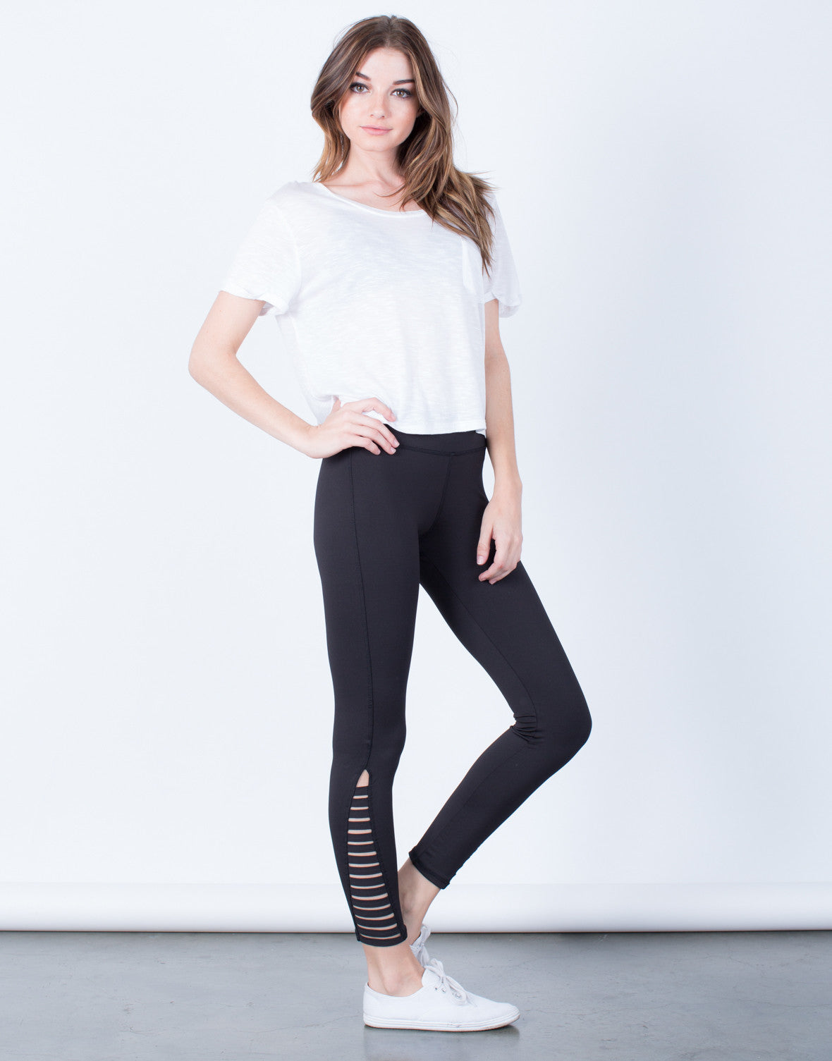 Side View of Caged Sides Leggings