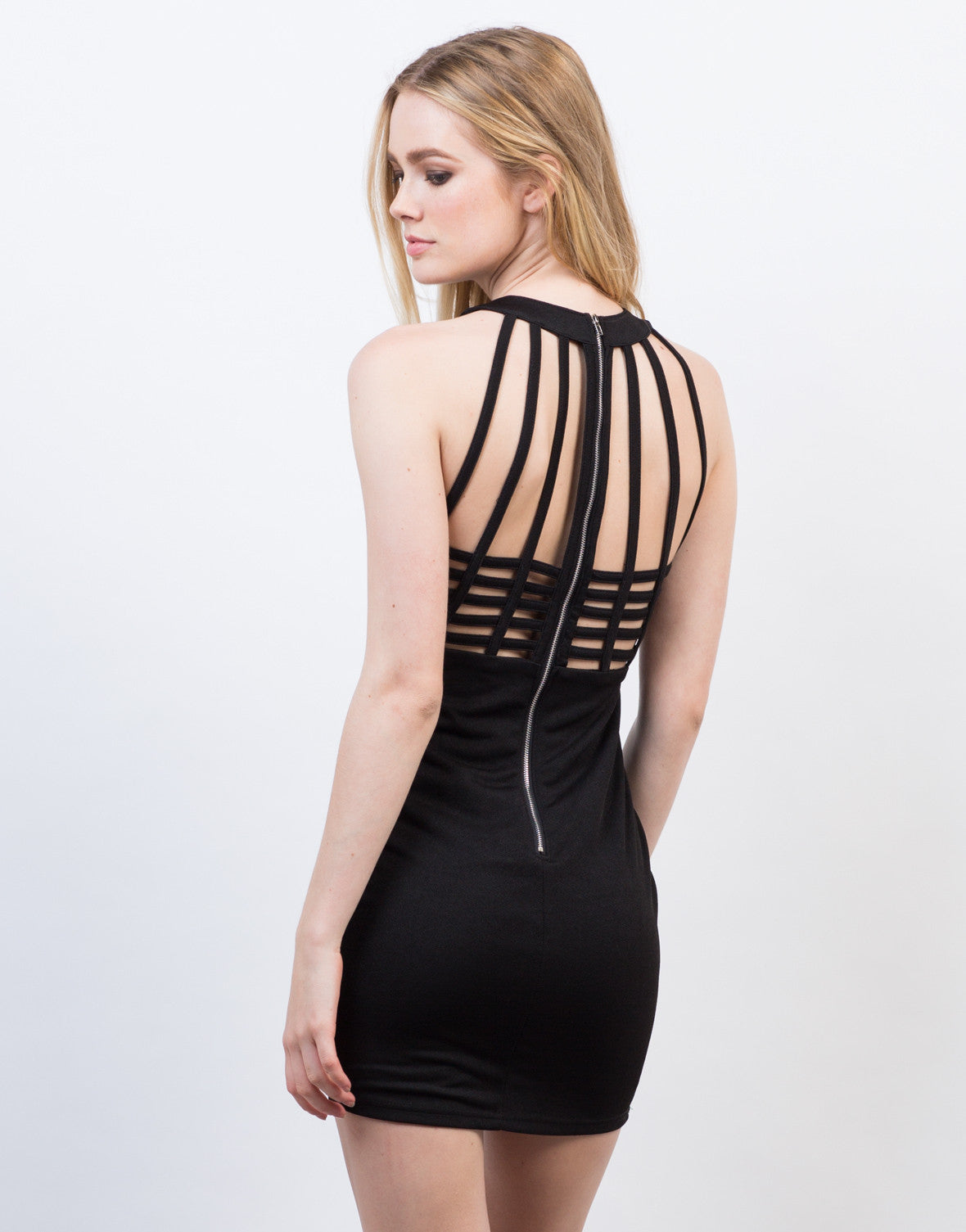 Back View of Caged Strappy Party Dress