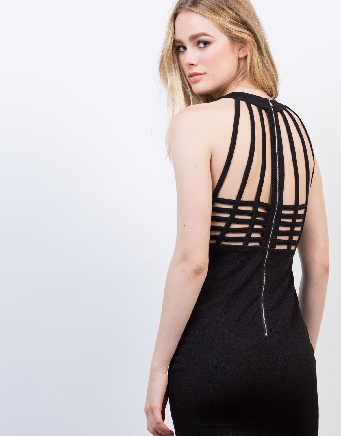 Detail of Caged Strappy Party Dress