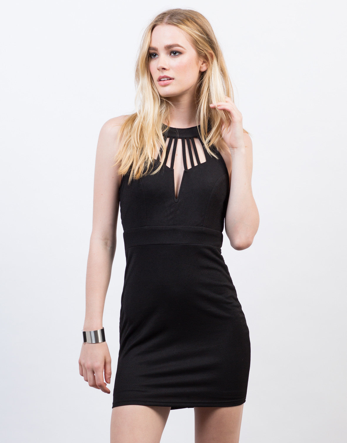 Front View of Caged Strappy Party Dress