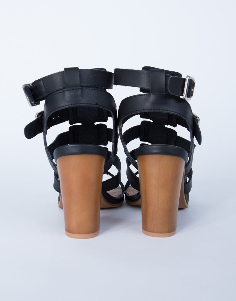 Caged Wooden Heel Sandals