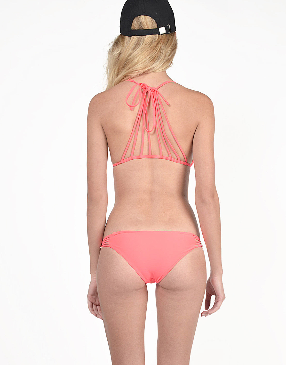 Caged Back Bikini Set - Neon Coral