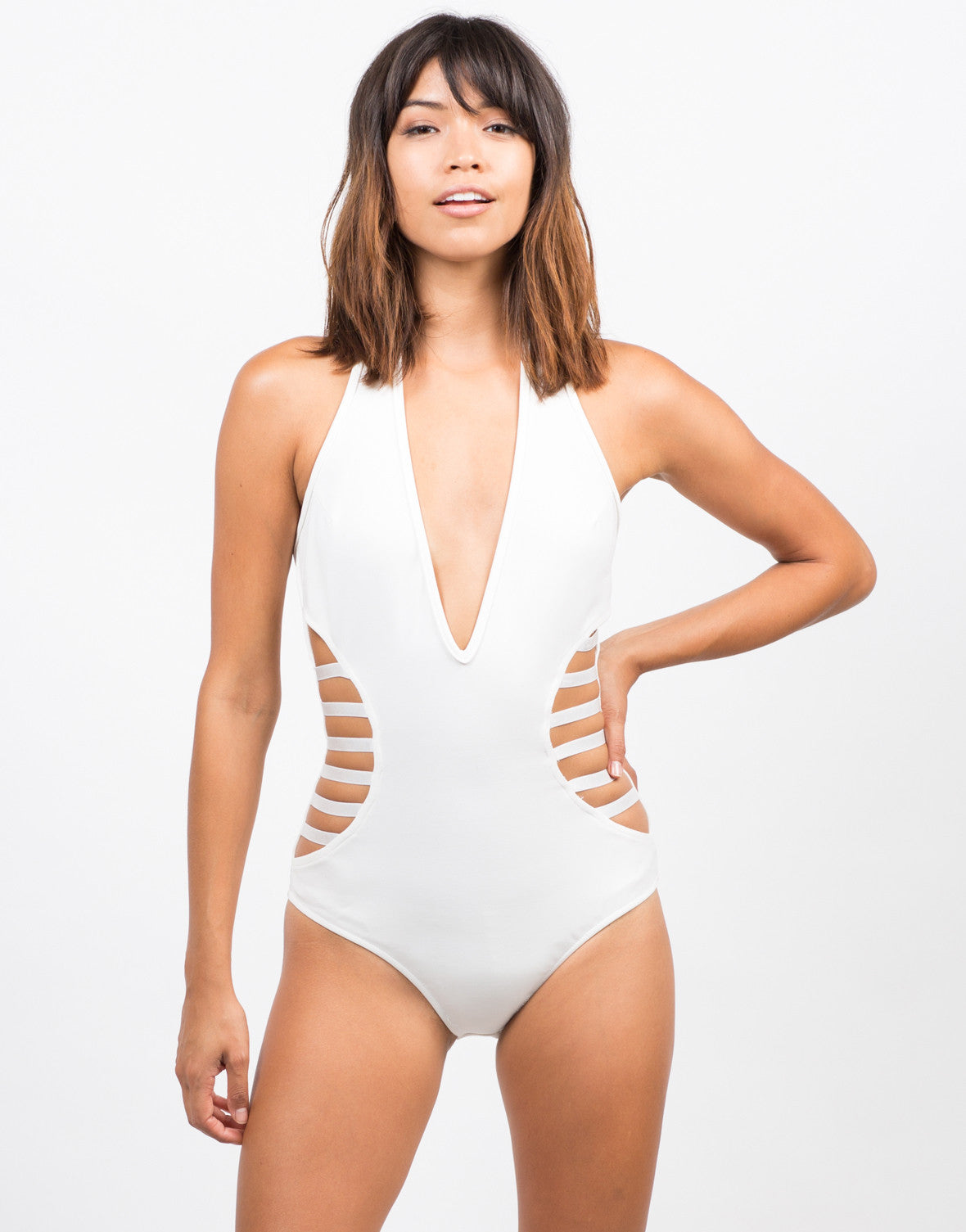 Front View of Caged In Halter Bodysuit