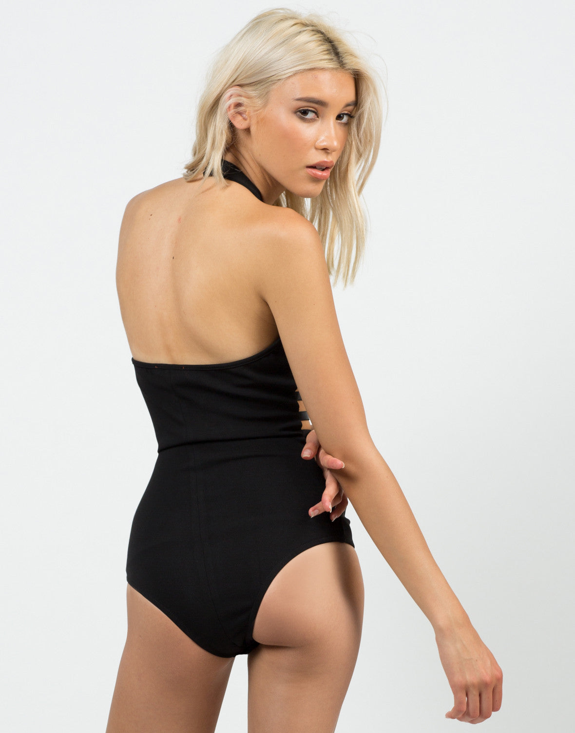 Back View of Caged In Halter Bodysuit