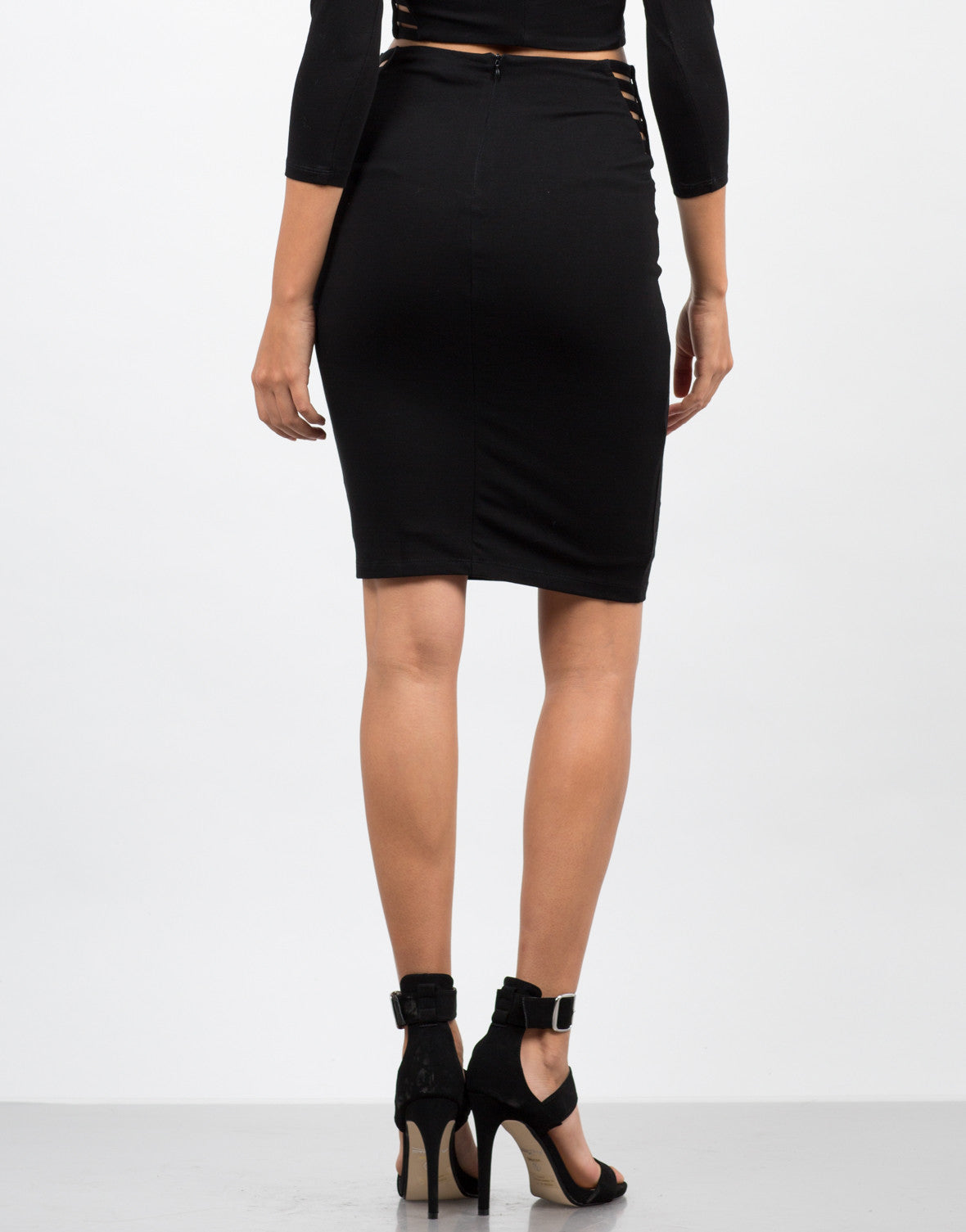 Back View of Caged Sides Pencil Skirt