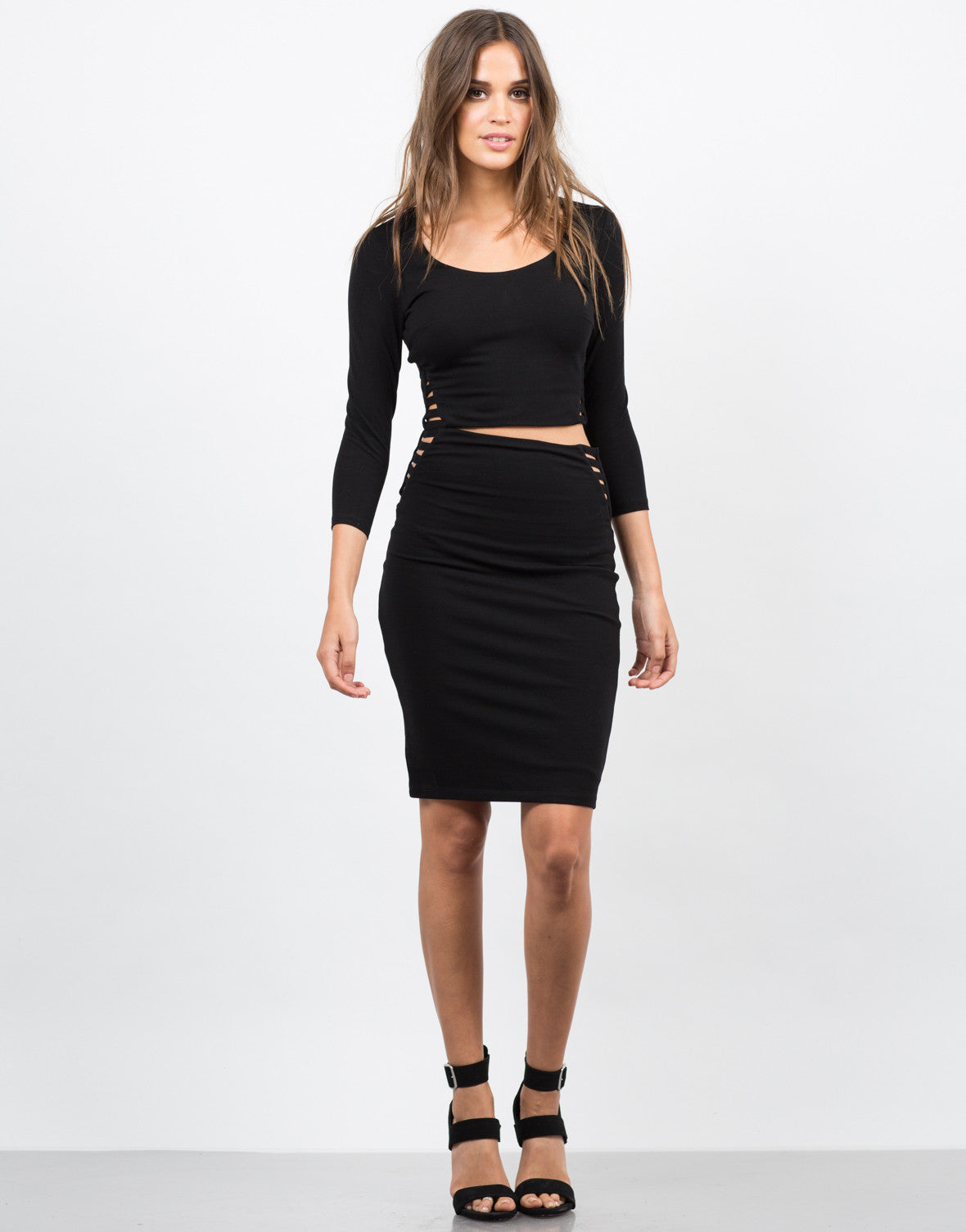 Front View of Caged Sides Pencil Skirt