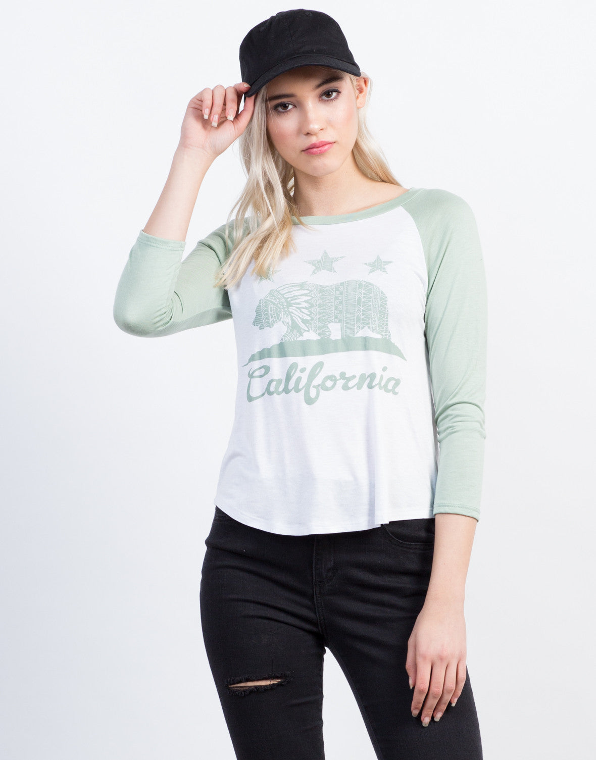Front View of California Baseball Tee