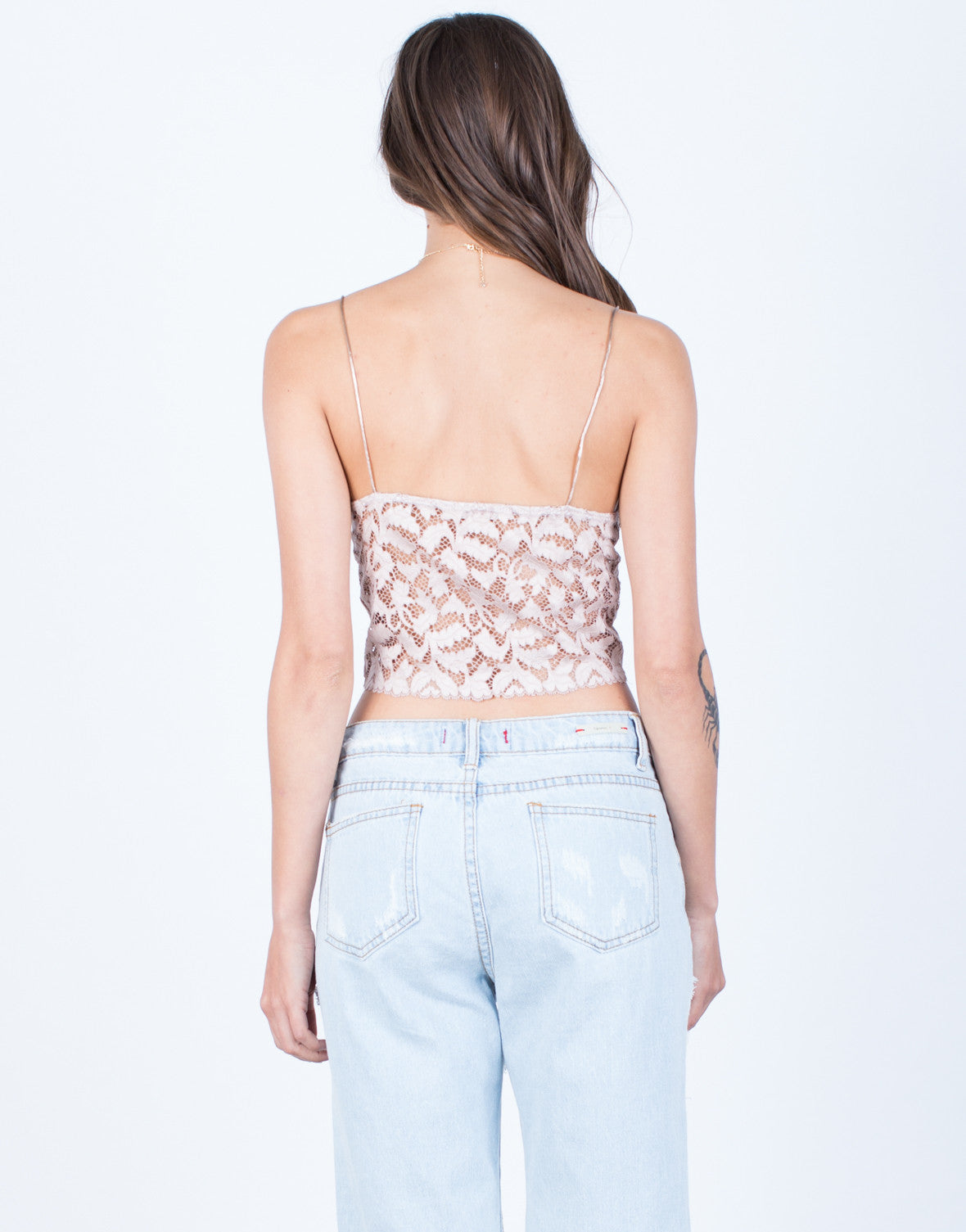 Back View of Cami Lace Crop Top