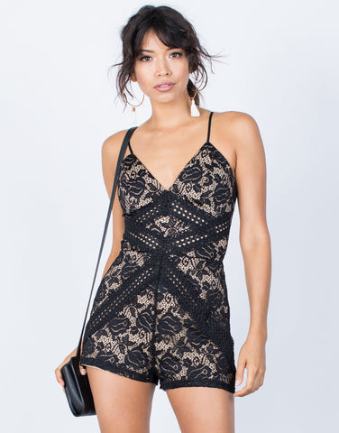 Black Camila Lace Romper - Front View