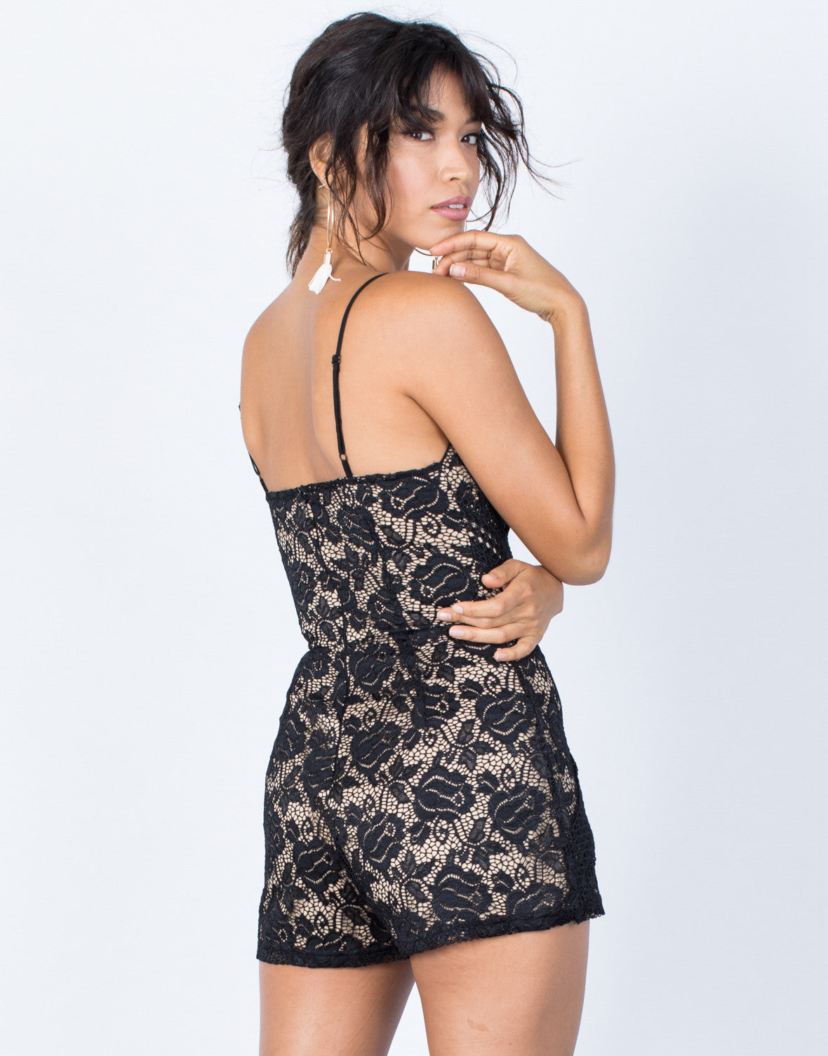 Black Camila Lace Romper - Back View