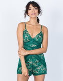 Green Camila Lace Romper - Front View