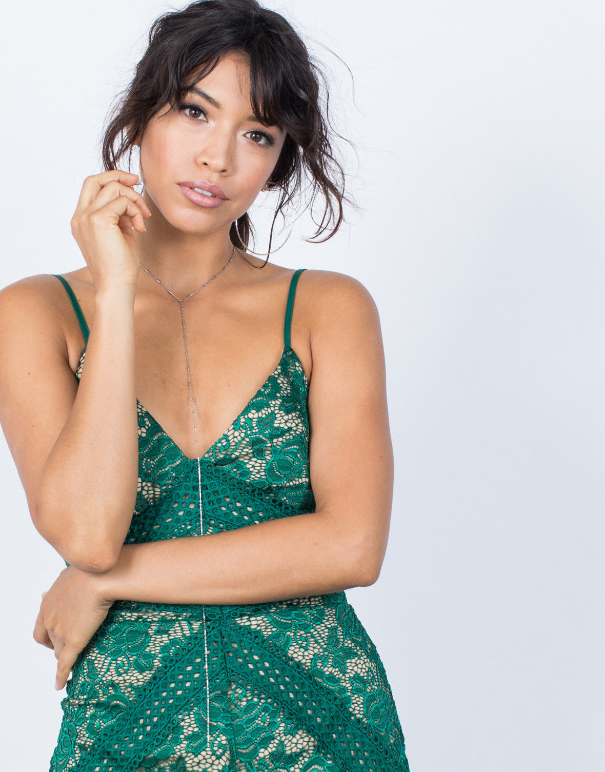 Green Camila Lace Romper - Detail