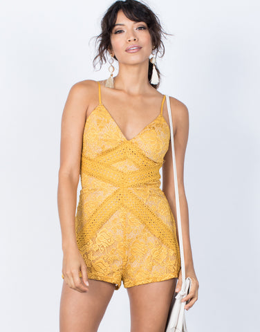 Mustard Camila Lace Romper - Front View