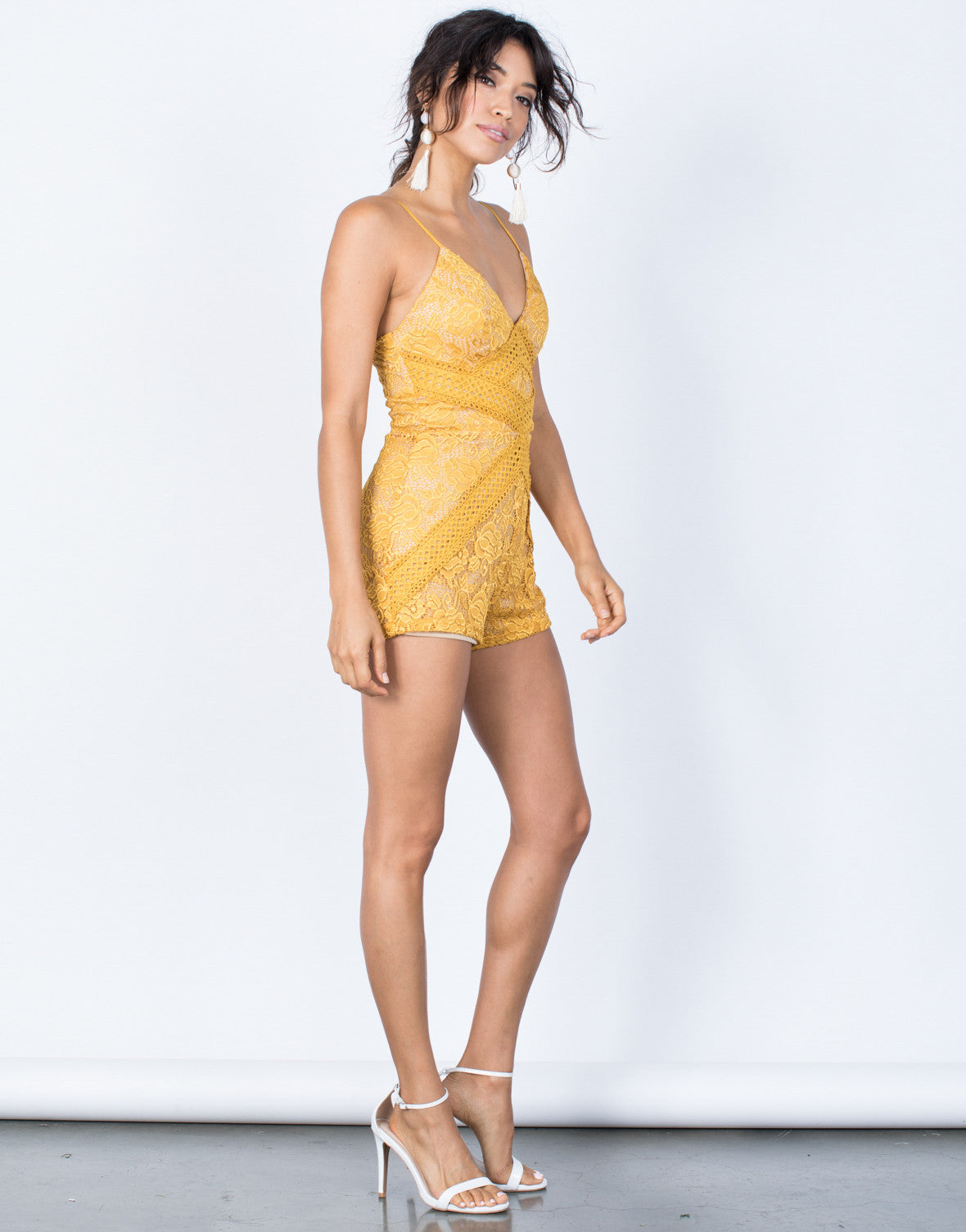 Mustard Camila Lace Romper - Side View