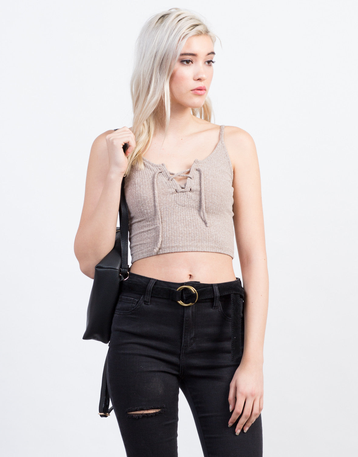 Front View of Cami Lace Up Top