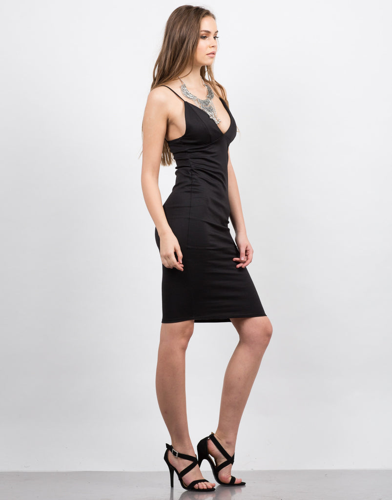Side View of Cami Strap Midi Dress