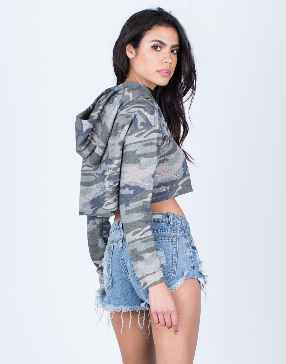 Back View of Camo Cropped Hoodie