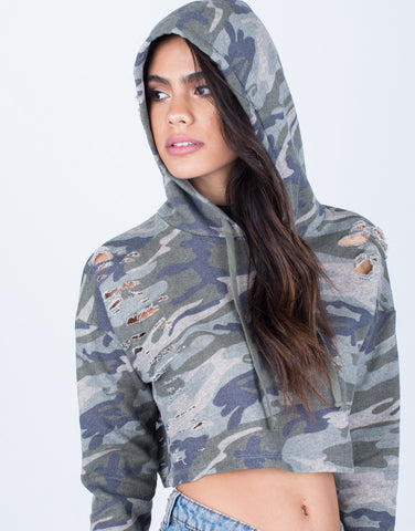 Detail of Camo Cropped Hoodie