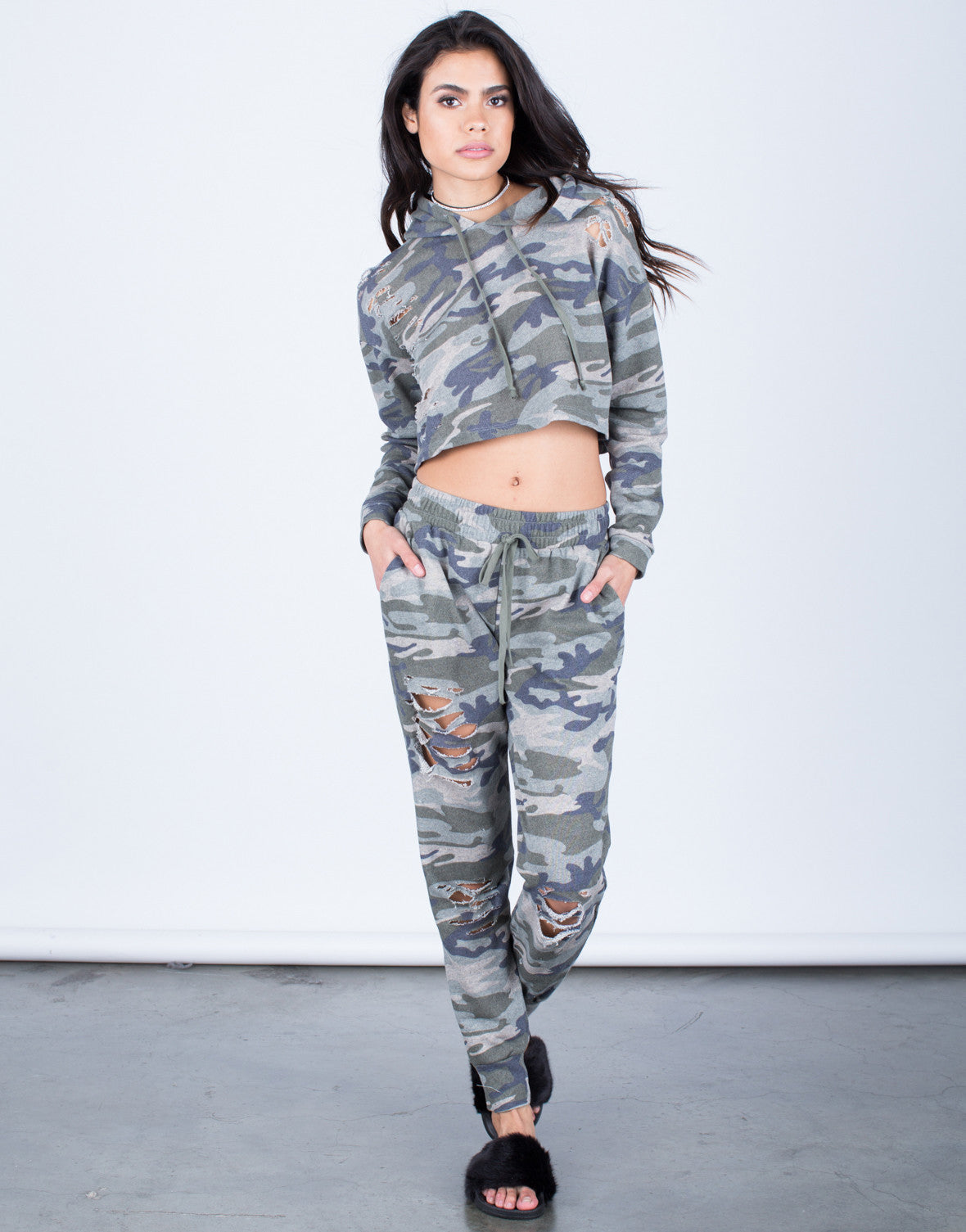 Front View of Camo Cropped Hoodie