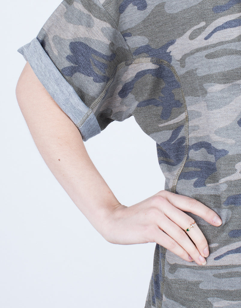 Detail of View of Camo Hoodie Dress