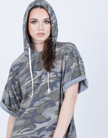 Detail of Camo Hoodie Dress
