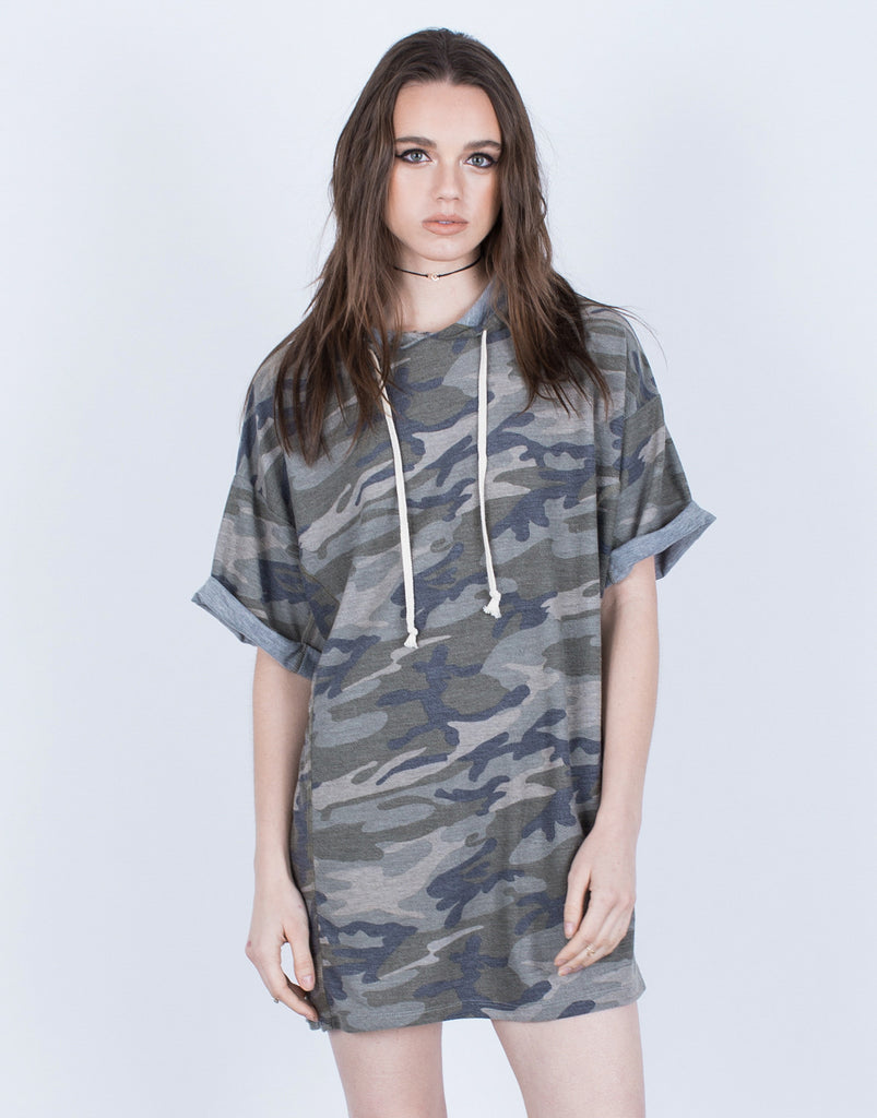 Front View of Camo Hoodie Dress
