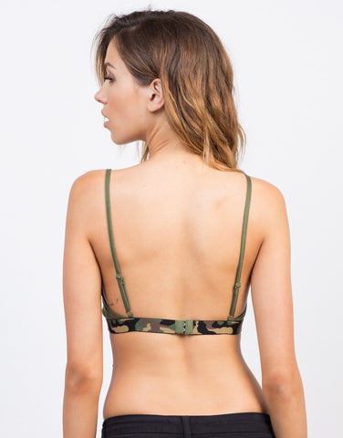 Back View of Camo Jersey Bralette