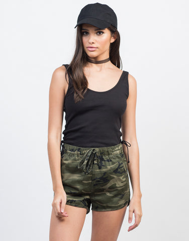 Front View of Camo Jogger Shorts