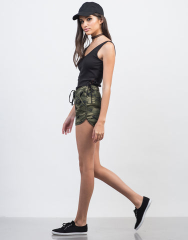 Side View of Camo Jogger Shorts