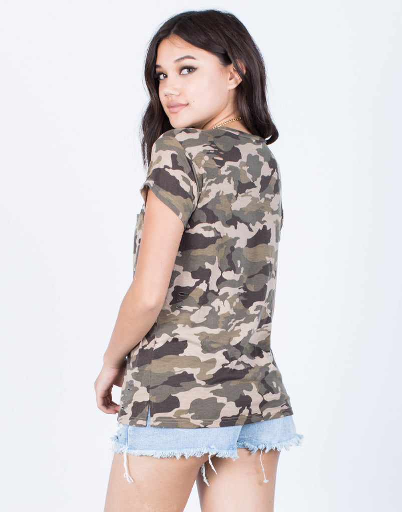 Back View of Camo Pocket Tee