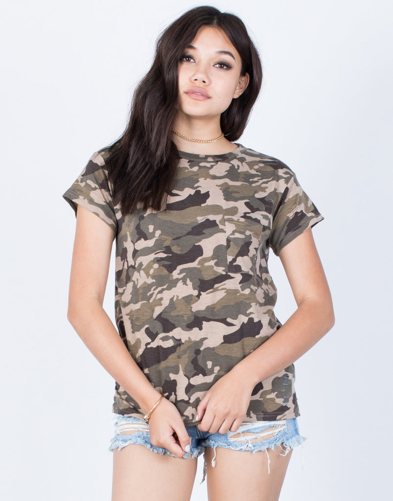 Front View of Camo Pocket Tee