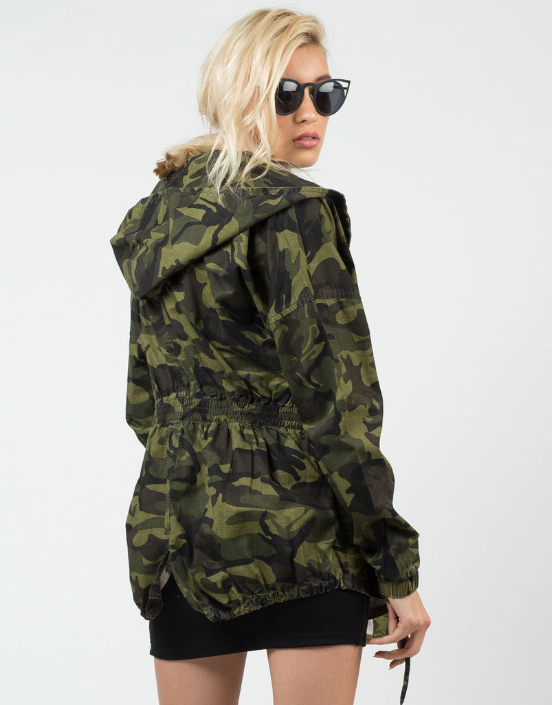 Back View of Camo Hoodie Jacket
