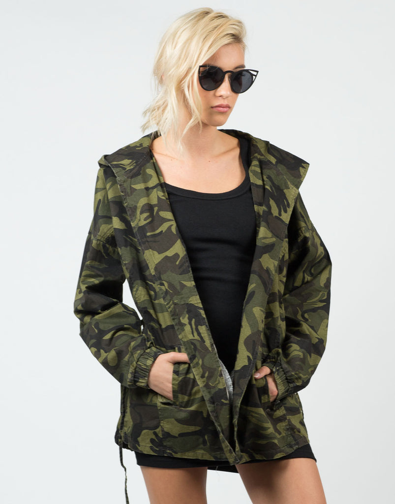 Front View of Camo Hoodie Jacket