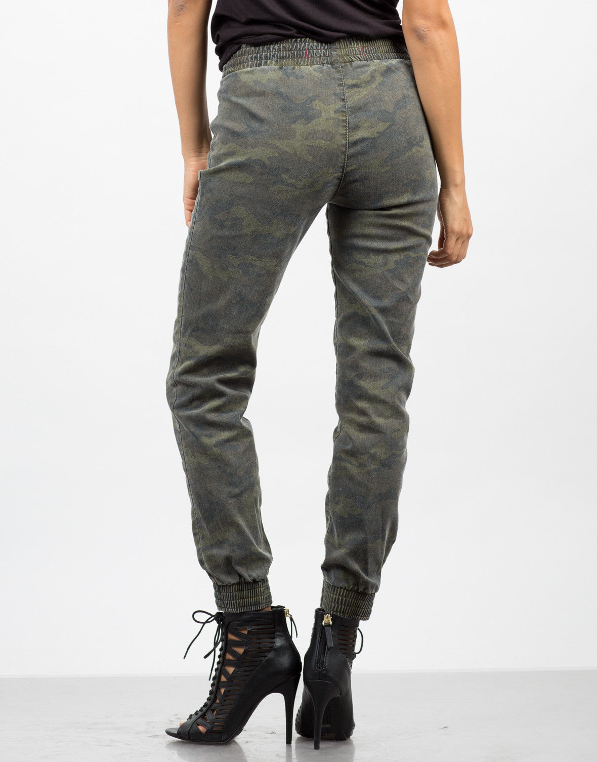 Back View of Camo Jogger Pants