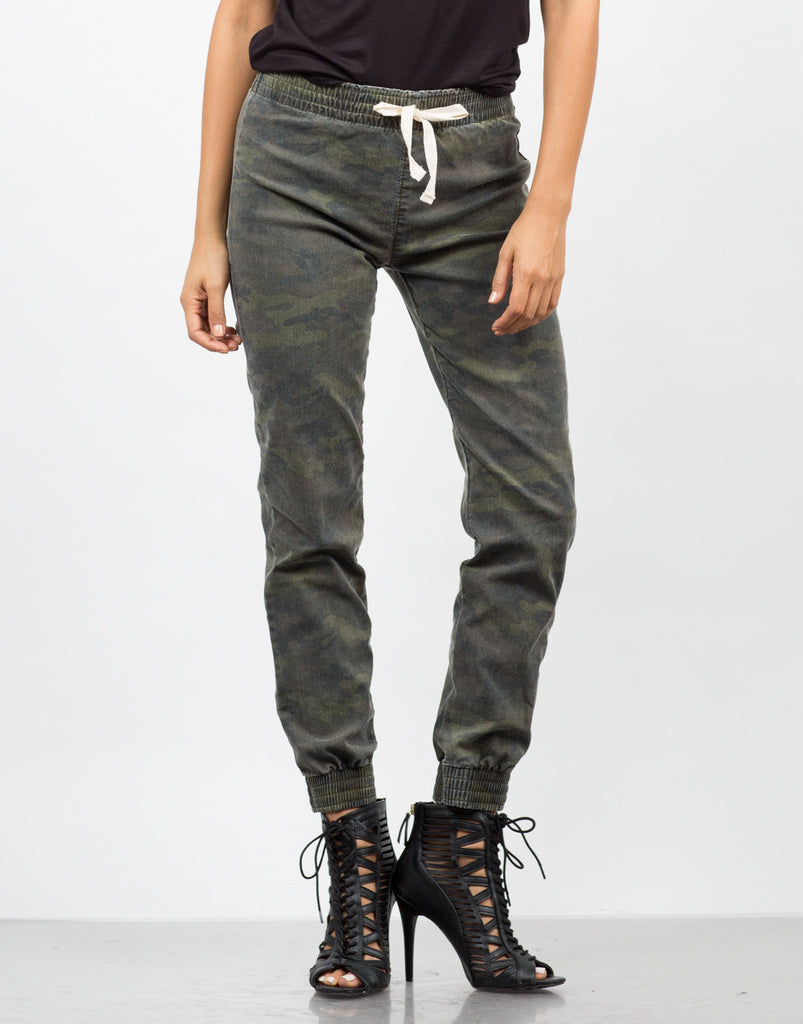 Front View of Camo Jogger Pants