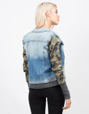Back View of Camo Sleeved Denim Jacket