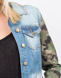 Detail of Camo Sleeved Denim Jacket