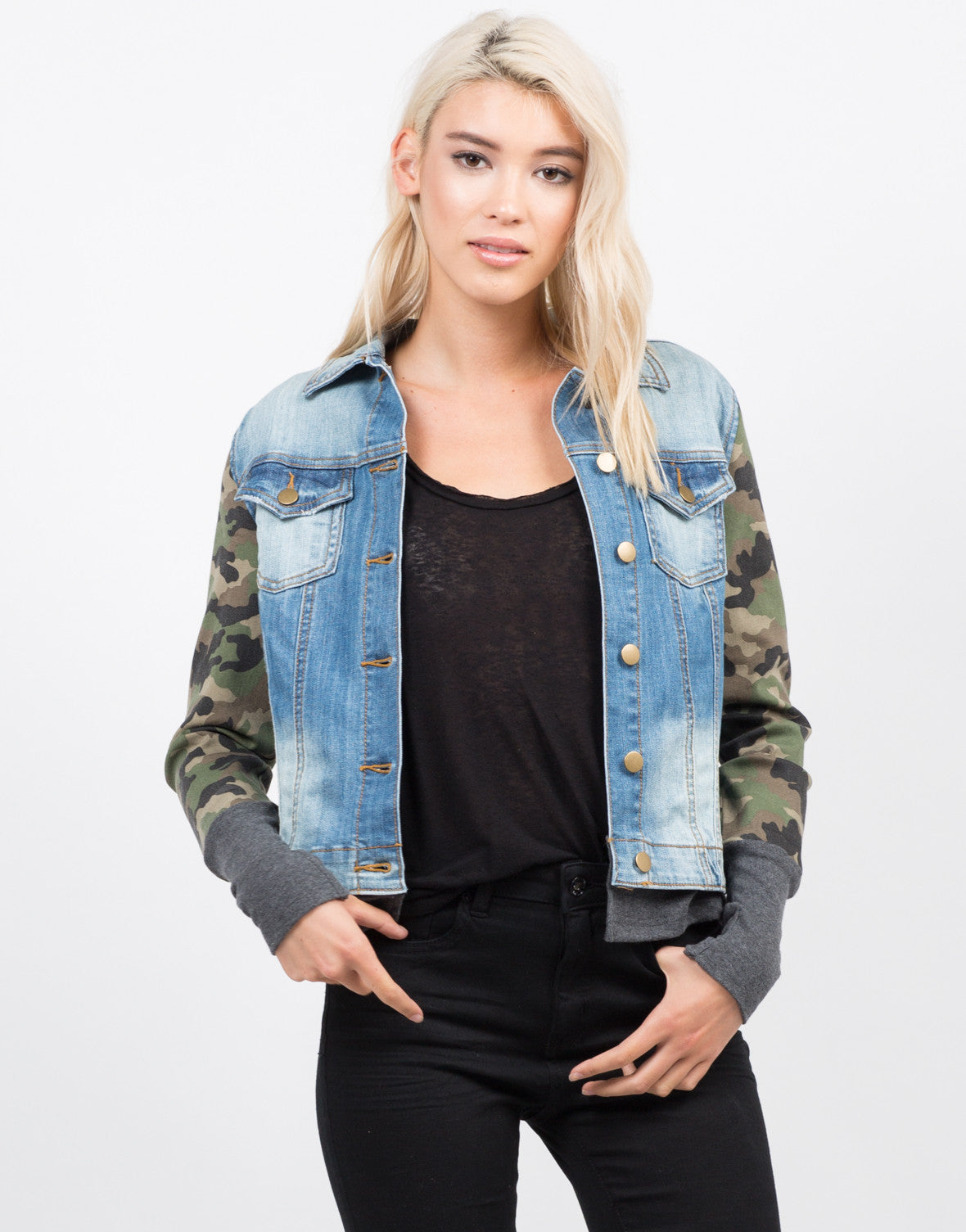 Front View of Camo Sleeved Denim Jacket