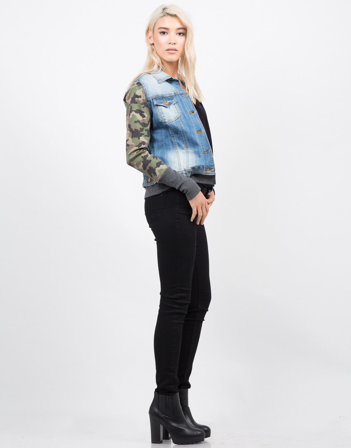 Side View of Camo Sleeved Denim Jacket
