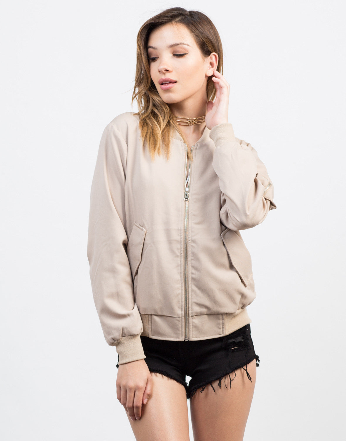 Front View of Canvas Bomber Jacket
