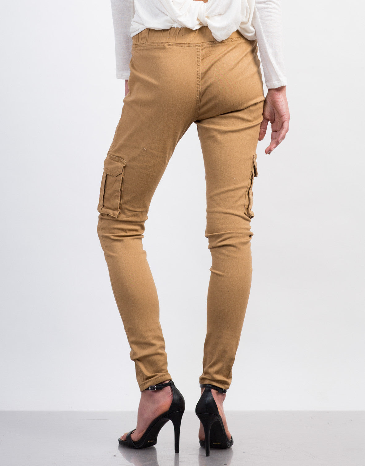 Back View of Cargo Skinny Pants