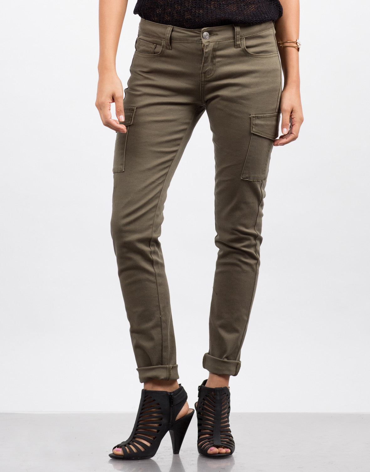 Front View of Cargo Pocket Skinny Denim Pants