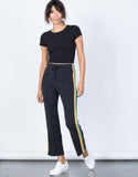 Black Caribbean Striped Pants - Front View