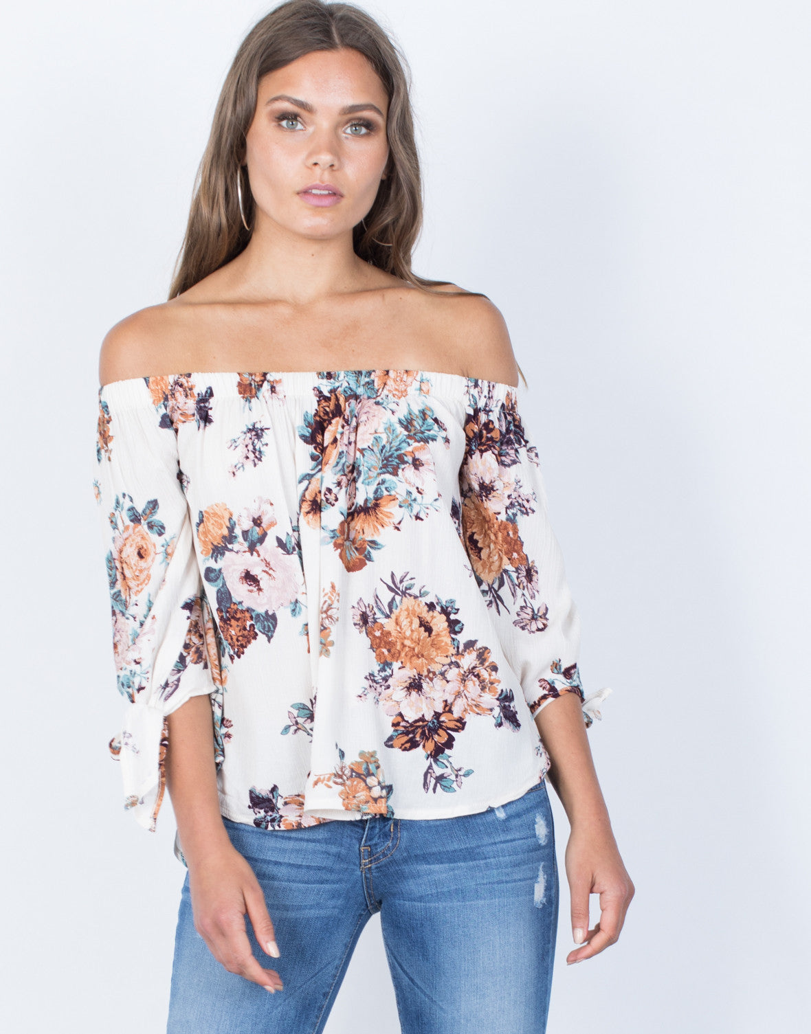 Front View of Caroline Floral Blouse